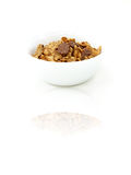 Cereals. Delicious cereals in a white bowl Royalty Free Stock Photos