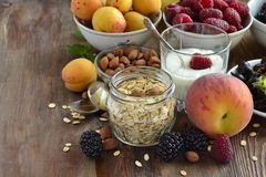 Cereals, almonds and various berries for breakfast Stock Photography