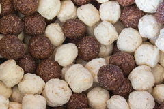 Cereals. Balls of cereals brown and white Royalty Free Stock Images