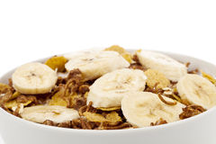 Cereals with banana topping Royalty Free Stock Photo