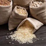 Cereals and beans in bags. Royalty Free Stock Image