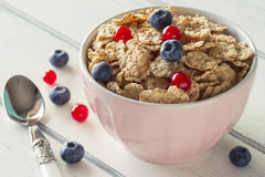 Cereals and berries breakfast Royalty Free Stock Photo