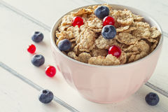 Cereals and berries breakfast Stock Photography