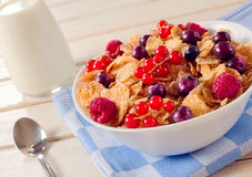 Cereals and berry fruit in bowl Stock Image
