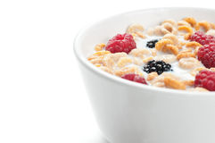 Cereals blackberries raspberries and milk. A bowl of cereals with fresh blackberries and raspberries with milk in a white background Stock Images