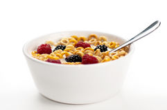 Cereals blackberries raspberries and milk in a bow Royalty Free Stock Photography