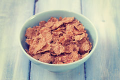 Cereals in blue bowl Royalty Free Stock Images