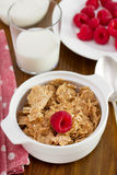 Cereals in the bowl, raspberries Stock Images