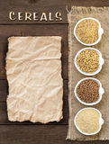Cereals in bowls with word Cereals Stock Photography