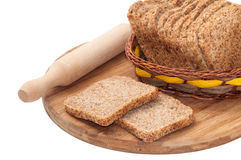 CEREALS BREAD ROLING PIN WOODEN BOARD Royalty Free Stock Images