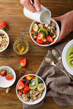 Cereals Breakfast Bowl With Fruits Stock Photos