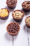 Cereals . Breakfast with milk and chocolate cornflakes. In bowl Royalty Free Stock Photo