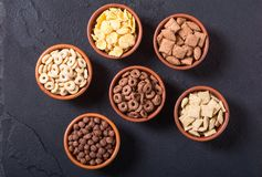 Cereals . Breakfast with milk and chocolate cornflakes. In bowl Stock Image