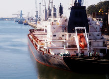 Cereals cargo ship on harbour Royalty Free Stock Images