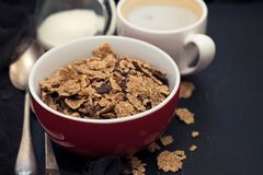 Cereals with chocolate cereals in red bowl Stock Photography