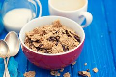 Cereals with chocolate cereals in red bowl Royalty Free Stock Images