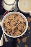 Cereals with chocolate cereals in red bowl Stock Photo