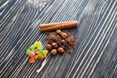 Cereals and chocolate chips lie on the texture table Royalty Free Stock Photography