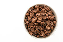 Cereals chocolate in white bowl Royalty Free Stock Photos