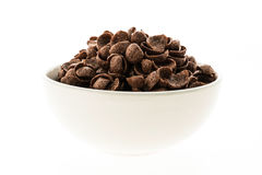 Cereals chocolate in white bowl Royalty Free Stock Photo