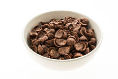Cereals chocolate in white bowl Stock Photos