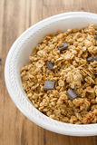 Cereals with chocolate on white bowl Royalty Free Stock Photos