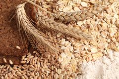Cereals. Close-up of rye bread, wheat, cereal flakes and wholegrain flour royalty free stock images