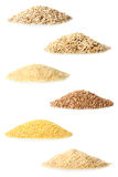 Cereals. A collage of different cereals on a white isolated background stock photos