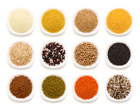 Cereals collection. On white background royalty free stock photo