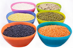 Cereals in color bowls Royalty Free Stock Photos