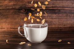 Cereals in cup of milk stock photography