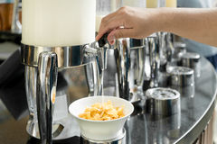 Cereals and fresh maik on the table in buffet breakfast in the r Stock Photography