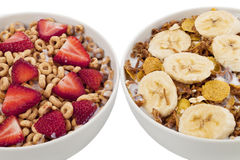 Cereals with fruit toppings Stock Images