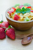 Cereals with fruit. In wooden bowl Stock Photo