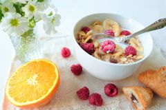 Cereals with fruits Royalty Free Stock Photos