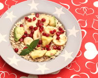 Cereals with fruits. Some cereals with seeds, avocado and banana Royalty Free Stock Photos