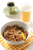 Cereals with glass of milk and coffee Stock Photo