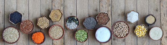 Free Cereals, Grains, Beans And Seeds. Millet, Quinoa, Corn, Buckwheat, Rice, Amaranth, Chickpea, Coconut Chia Soy Oats Lentils Gluten- Royalty Free Stock Photos - 129550998
