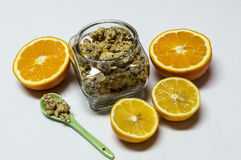 Cereals in the Jar, Orange and Lemon. Healty food. Royalty Free Stock Photos