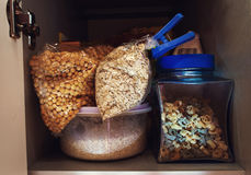 Cereals on the kitchen shelf. Royalty Free Stock Images