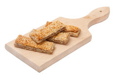 CEREALS MEATLESS BREAD SESAME WOODEN BOARD Royalty Free Stock Photography