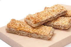 CEREALS MEATLESS BREAD SESAME WOODEN BOARD Royalty Free Stock Images