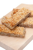 CEREALS MEATLESS BREAD SESAME WOODEN BOARD Royalty Free Stock Photo