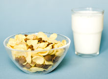 Cereals and milk. A bowl with cereals and a glass with milk  isolated on a  blue background Royalty Free Stock Photography