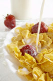 Cereals with milk and strawberries Stock Photo