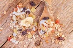 Cereals muesli food in wooden spoon Royalty Free Stock Photo