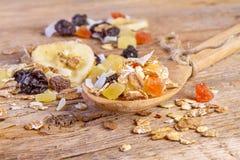 Cereals muesli food in wooden spoon Stock Photo