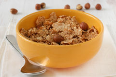 Cereals with nuts in bowl Stock Photography