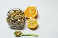 Cereals, Orange and Lemon. Healty food. Royalty Free Stock Photos
