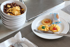 Cereals and pastries for breakfast Stock Image